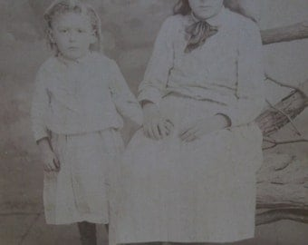 Antique Cabinet Photo-Shabby Siblings-Boy in Dress-Long Hair-ID'd-Phillipsburg,NJ