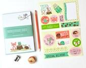 kids stationery,  stationery for girls, kids writing, notepad set, pen pal, hedgehog, woodland,  stickers, mailing labels