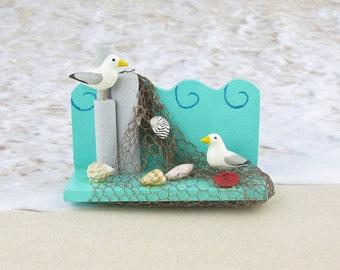Handcarved Seagulls On Netting Refrigerator Magnet