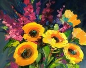 Original Oil Painting, contemporary flowers, floral art, sunflowers painting, colorful art, yellow flowers, 11x14 inch