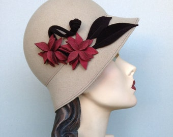 Ecru/Ivory Wool Cloche with Coral and Brown Flowers and Leaves