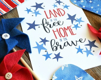 America, USA, Land of the Free Home of the Brave, Fourth of July, Independence Day, Summer Seasonal Decor, Red White and Blue, Art Print