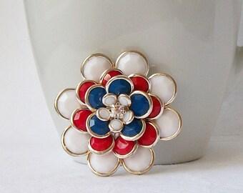 Vintage Red White Blue Brooch
