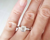 Vintage emerald cut diamond ring, engagement ring, vintage ring, emerald cut diamond ring, vintage engagement ring