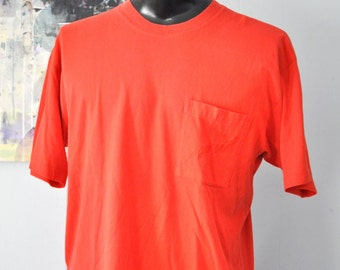 Vintage ESPRIT Tshirt Faded Distressed Simple One Pocket Embroidered Espirit Red Tee 90s Color Basic