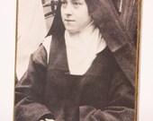 Vintage Catholic Nun Black and White Photo on Wood Mount S. Teresita del Nino Jesus