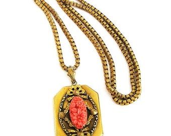 Carved Coral Glass Pendant Necklace