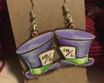 Hand Painted Mad Hatter Hat Earrings