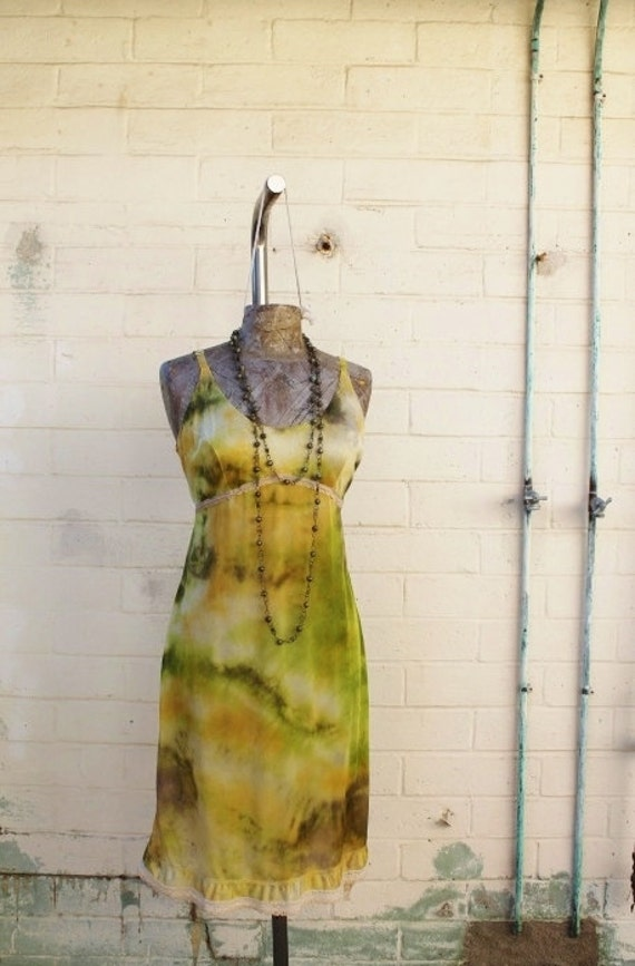 Medium Vintage Slipdress/Tie Dye Dress/altered couture/Ecru Tie Dye Slip Dress/Vintage Slip/Upcycled clothing/Love/Sunflower Daisy Dress/Sun