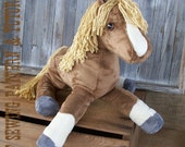 Plush Horse Softie Sewing Pattern and Tutorial Rustic Horseshoe's Floppy Filly Horse Doll Instructions and Templates