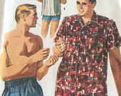Vintage Mens McCalls Pattern 3637, 1950s Mens Sport Shirt And Swim Shorts Size XL