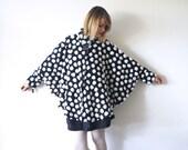 r e s e r v e d...80s 90s faux fur cape. kitsch black and white cape coat - one size