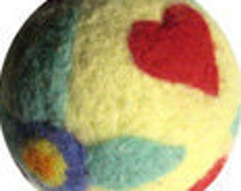 Needle Felted Ball Kit Hearts and Flowers Peace Fleece