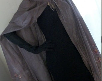 1930s Style Goth Shimmery Bronzey Grey Organza Long Sheer Cape with Floral Design Orig Design