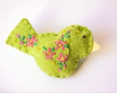"""Handmade Felt Bird Brooch or Pin In Lime Green with Pink, Yellow and Green Embroidered and Beaded Floral Embellishments, 2.75 x 1.5""""Bird Pin"""