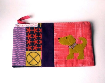 "Zipper Pouch, 5.25x9.25"" in red, plum, gold, pink nd white geometric fabric with Handmade Felt Dog Embellishment, Puppy Zipper Pouch"