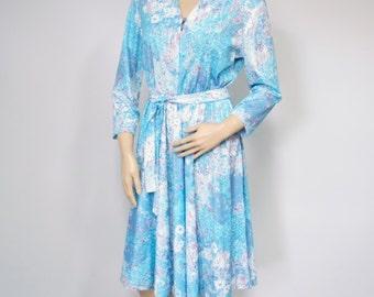 Vintage Blue Dress 1970's Dress Shirtwaist Floral Long Sleeve Belted Full Skirt Dress Size Medium