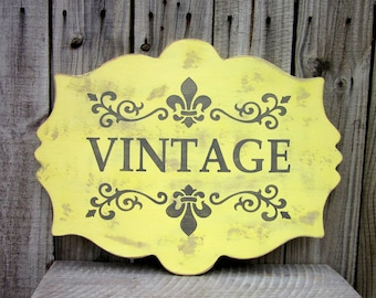Vintage Sign, French Country, Fleur de Lis, Shabby, Cottage Chic, Vintage, Plaque, Hand Painted, Distressed, Yellow, Gray,