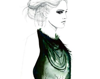 Garden of Memories, print from original watercolor and pen fashion illustration by Jessica Durrant