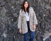 Vintage 70s Oversized CHUNKY KNIT Sweater Jacket M L