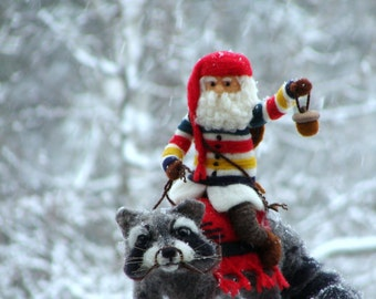 RESERVED - Needle Felted Raccoon and Hudson Bay Santa - Needlefelted Wool Animal Soft Sculpture by McBride House