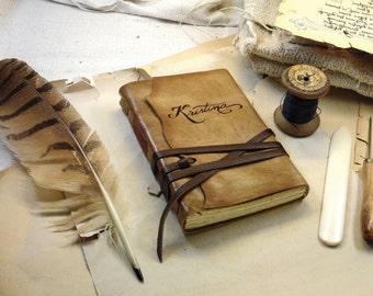SALE - leather journal, custom monogram, vintage style, travel notebook, brown journal