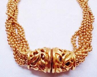 Vintage Necklace Choker Collar Designer Signed Napier Bright Gold Mid Century 1960's