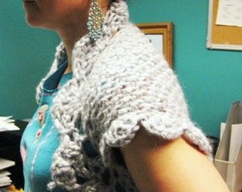 Sale was 65.00 now 55.00 Beautiful diamond color Romantic Knitted Crochet Shrug, bolero