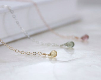 Natural Zircon Lariat Y Necklace in Choice of Sterling Silver, Yellow, or Rose Gold Fill Great for Layering - Recycled Metal - Ready to Ship