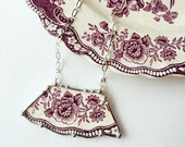 Broken china jewelry necklace antique floral purple plum mulberry toile English transferware