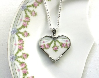 Beautiful recycled china French pink rose garland porcelain broken china jewelry heart pendant