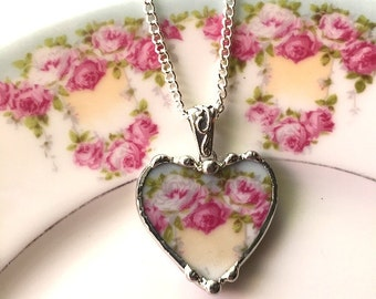 Antique French porcelain broken china jewelry heart pendant necklace pink roses recycled china