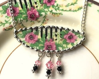 Broken china jewelry necklace antique wild roses with Swarovski crystals made from upcycled recycled china