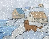 Mink Cute Animal Art Print, 5x7 Snowy coast illustration for kids room