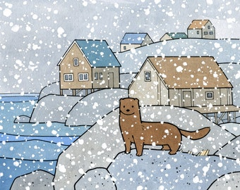 Mink Cute Animal Art Print, 5x7 Snowy coast illustration for kids room