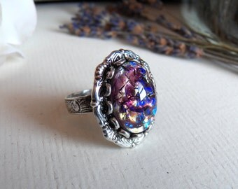 Lavender Dreams - Ring - Vintage Glass - Silver Adjustable Ring - Handmade Jewelry by HoneyNest