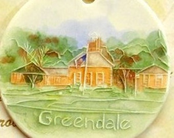 GREENDALE VILLAGE HALL Ceramic-Watercolor Ornament, medalion, gift tag