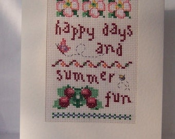 Happy Day and Summer Fun  Completed Cross Stitch Card, Handmade birthday card , hand stitched cross stitch, greeting card