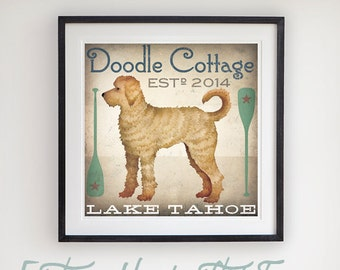 DOODLE Goldendoodle Labradoodle Graphic Art Illustration Print BY Ryan Fowler Signed