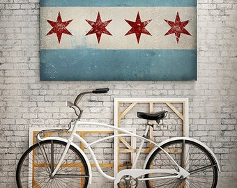CHICAGO FLAG U.S.A. Stretched Canvas Wall Art  Ready To Hang