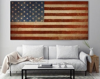 United States Flag Old Glory Stars and Stripes American Americana Stretched Canvas  Wall Art  Ready To Hang by Ryan Fowler