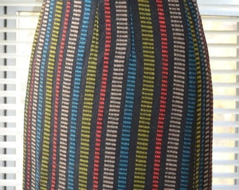 Vintage 60s Skirt - Take Note - Striped Wool - Pencil Shape - xs/s