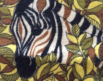 "SALE  70s ""The Mighty Jungle""/Cotton Flannel/Zebras, Lions, Cheetahs & Giraffes/Leafy Camouflage Novelty Print in Earth Tones"