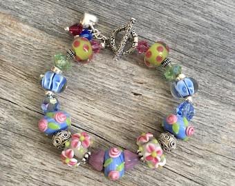 Blue Pastel Bracelet, Lampwork Bracelet, Glass Bracelet, Beadwork Bracelet, Beaded Bracelet, Art Glass Bracelet, Glass Jewelry, Pastels
