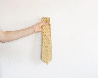 gold apple print necktie . dapper silk menswear . novelty tiny fall fruit pattern .sale