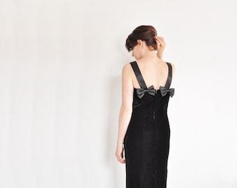 little black velvet dress with BOWS . satin trim . knee length .medium .sale s a l e