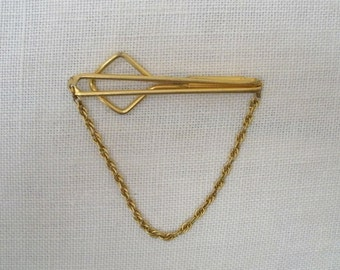 Vintage Gold Tone Swank Tie Clasp with Chain
