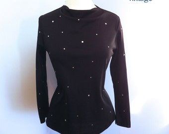 Vintage 60s Top Black Zip Back Shirt with Sparkling Rhinestones M Lg - on sale