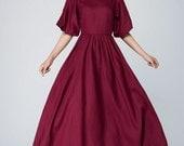 burgundy dress, Romantic dress,formal dress,party dress,  High waisted dress, maxi dress, Bridesmaids dress, wedding dress, Custom made 1573