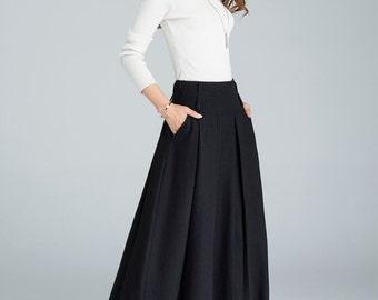 light grey skirt wool skirt winter skirt pleated skirt